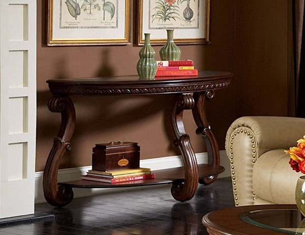 Cavendish Traditional Warm Cherry Wood Glass Sofa Table HE-5556-05