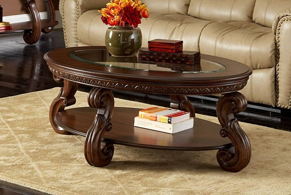 Cavendish Traditional Warm Cherry Wood Glass Cocktail Table HE-5556-30