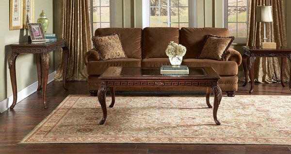 Higgens Traditional Warm Cherry Wood Glass 3pc Coffee Table Set HE-5557OT-s1