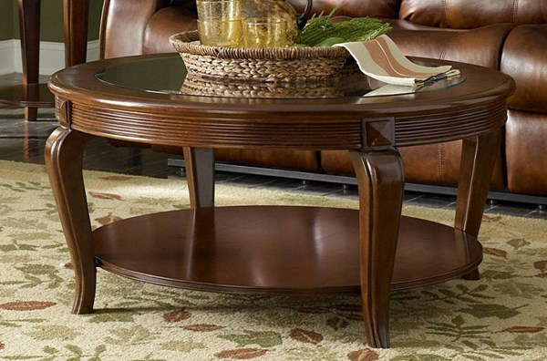 Schiffer Traditional Cherry Wood Glass Round Cocktail Table HE-5558-01