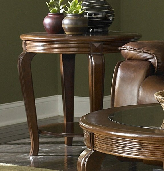 Schiffer Traditional Cherry Wood Glass Round End Table HE-5558-04