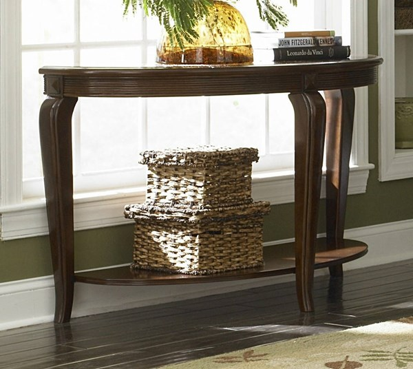 Schiffer Traditional Cherry Wood Glass Sofa Table HE-5558-05