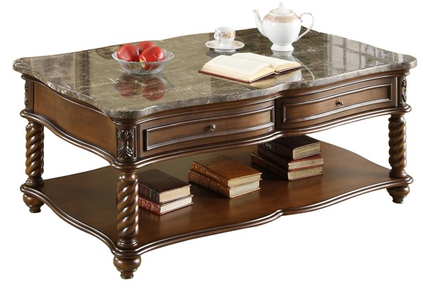Lockwood Grain Mahogany Wood Marble Top Cocktail Table HE-5560-30