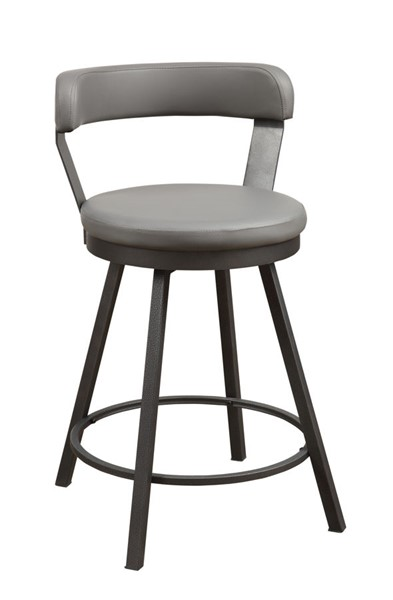2 Home Elegance Appert Gray PU Swivel Counter Height Chairs HE-5566-24GY