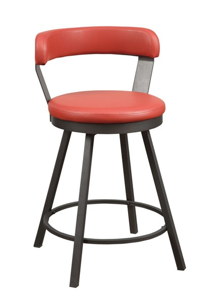 2 Home Elegance Appert Red PU Swivel Counter Height Chairs HE-5566-24RD