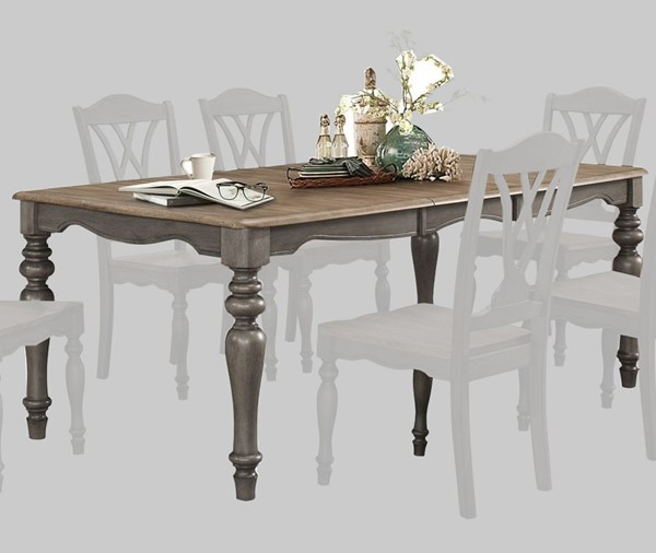 Home Elegance Hyacinth Oakwash Gray 18 Inch Butterfly Leaf Dining Table HE-5585-78
