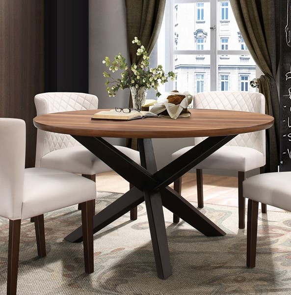 Home Elegance Nelina Walnut Round Dining Table HE-5597-53