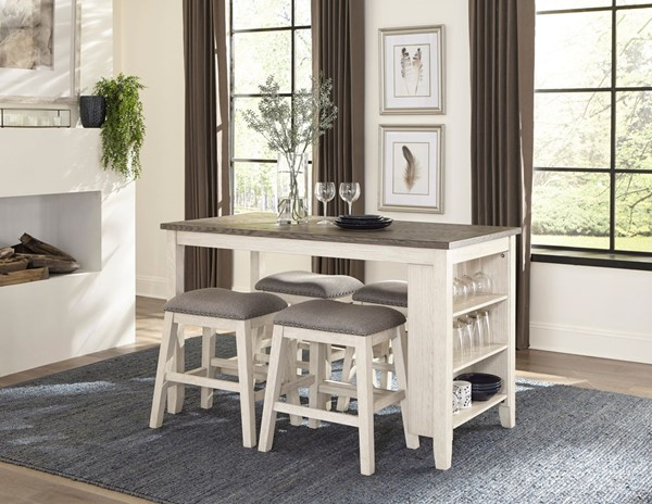 Home Elegance Timbre Antique White Brown 5pc Counter Height Set HE-5603WW-36-5-SET