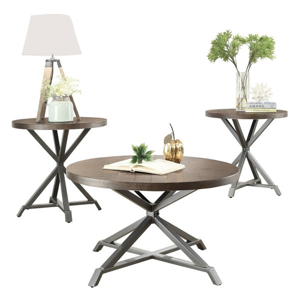Home Elegance Fideo Burnished Gray 3pc Occasional Table Set HE-5606-31