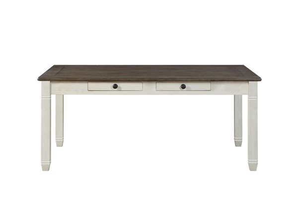 Home Elegance Granby Antique White Brown Dining Table HE-5627NW-72
