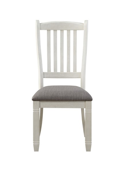2 Home Elegance Granby Antique White Brown Side Chairs HE-5627NWS