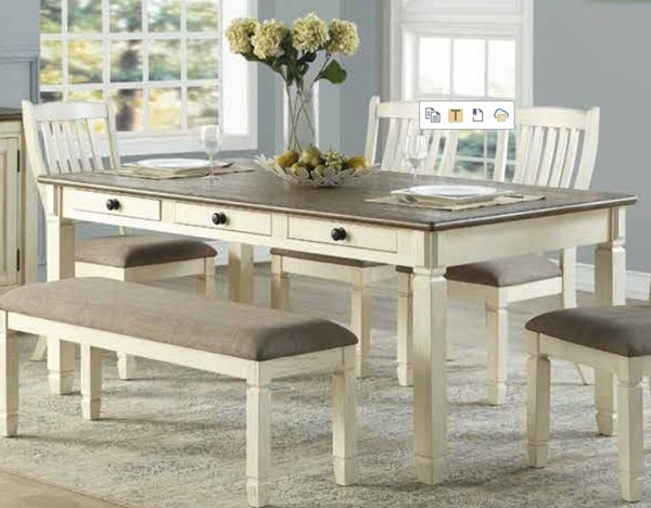 Home Elegance Willow Bend White Brown 6 Drawers Dining Table HE-5627W-72