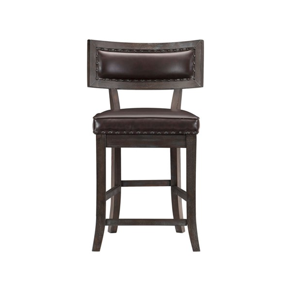 2 Home Elegance Oxton Dark Cherry Brown Counter Height Chairs HE-5655-24