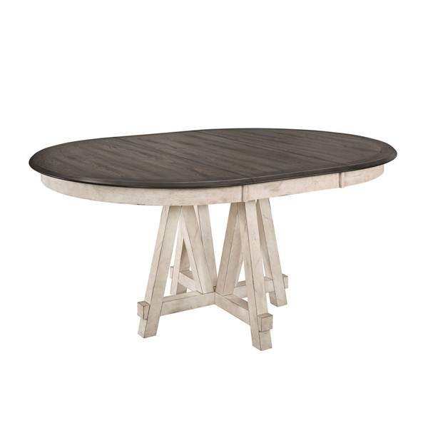 Home Elegance Clover Antique White Gray Round Extension Table HE-5656-66