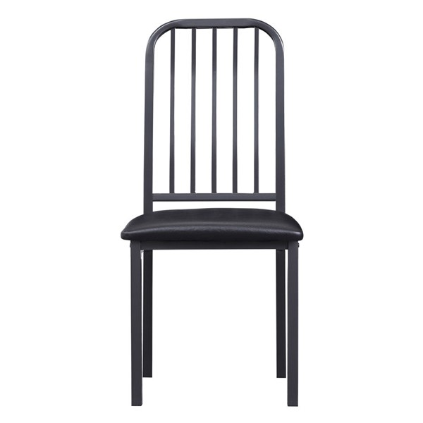 2 Home Elegance Tripp Silver Gray Black Side Chairs HE-5664S