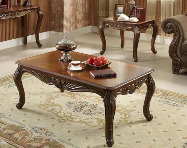 Lambeth II Traditional Rich Cherry Wood 3pc Coffee Table Set HE-5669NF-OCT-S
