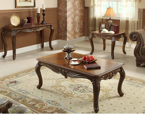 Lambeth II Traditional Rich Cherry Wood Coffee Table Set HE-5669NF-OCT