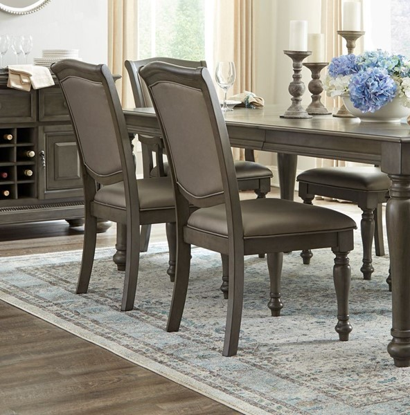 2 Home Elegance Summerdale Gray Side Chairs HE-5673GYS