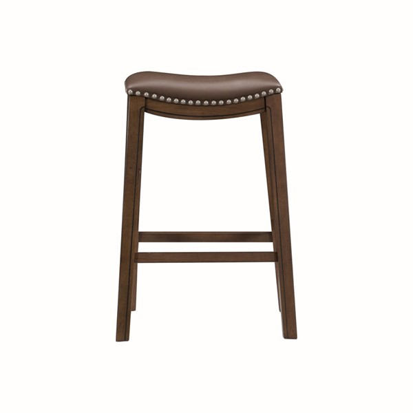 Home Elegance Ordway Brown PU Pub Height Stool HE-5682BRW-29