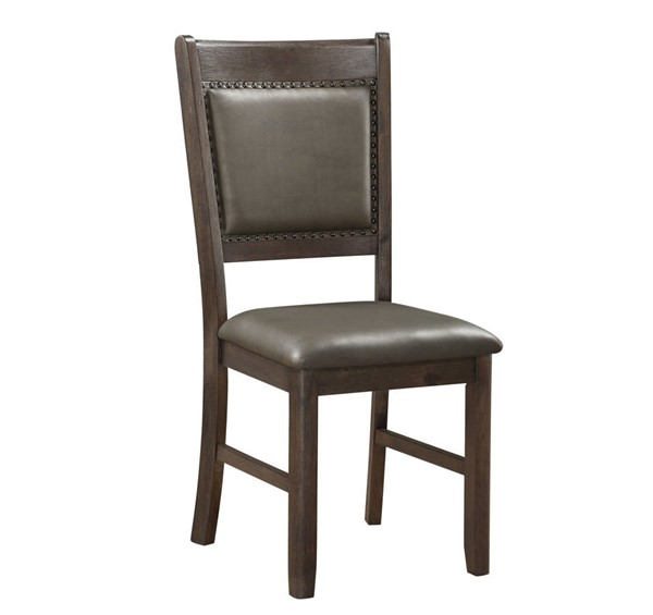2 Home Elegance Brim Brown Cherry Gray Side Chairs HE-5683S