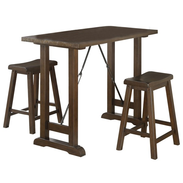 Home Elegance Bracknell Brown Cherry 3pc Counter Height Set HE-5686-32