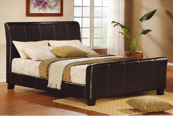 Syracuse II Deep Rich Merlot Wood Vinyl Queen Panel Bed HE-5785-1