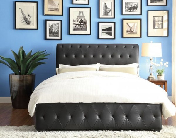 Baldwyn Casual Black Bi-Cast Vinyl King Bed HE-5789KBK-1EK