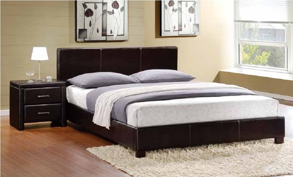 Zoey Dark Brown Wood Upholstered Vinyl Master Bedroom Set HE-5790-BR