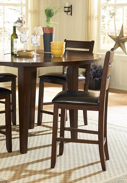 2 Ameillia Dark Oak Brown Wood Vaneer Vinyl Counter Height Chairs HE-586-24