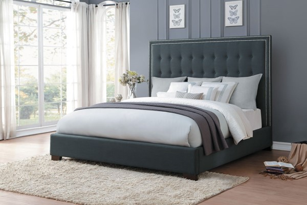 Home Elegance Jervis Dark Grey Queen Upholstered Bed HE-5872N-1