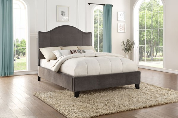 Home Elegance Carlow Gray Fabric Queen Bed HE-5874GY-1