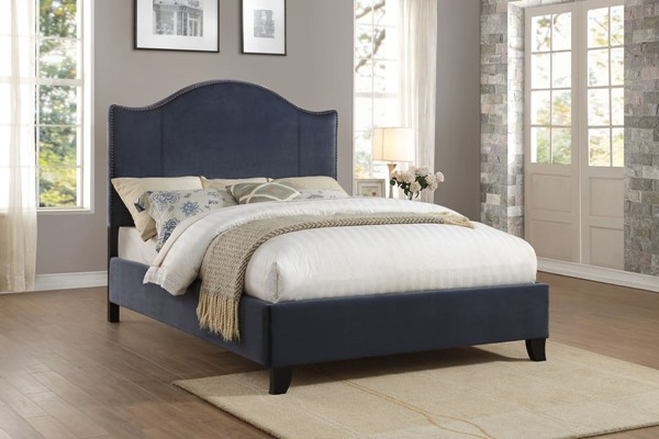 Home Elegance Carlow Navy Blue Fabric Queen Bed HE-5874NV-1