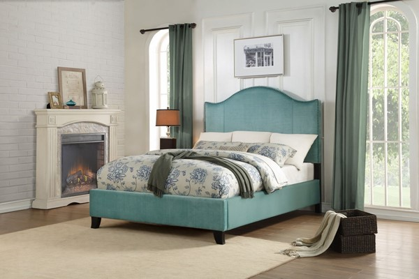 Home Elegance Carlow Teal Fabric Full Bed HE-5874FTE-1