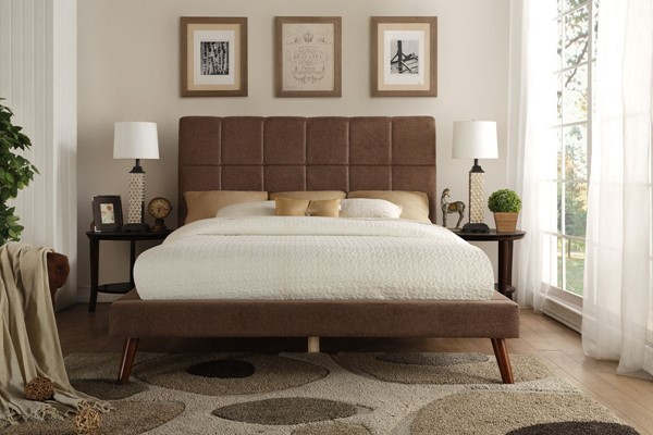 Home Elegance Kinsale Brown Fabric Queen Bed HE-5875BR-1