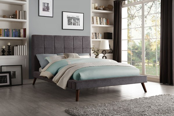 Home Elegance Kinsale Gray Fabric Full Bed HE-5875FGY-1