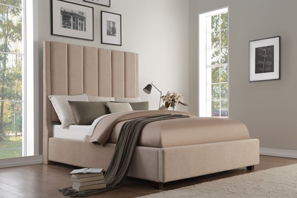 Home Elegance Neunan Beige Fabric King Bed HE-5876KBE-1EK