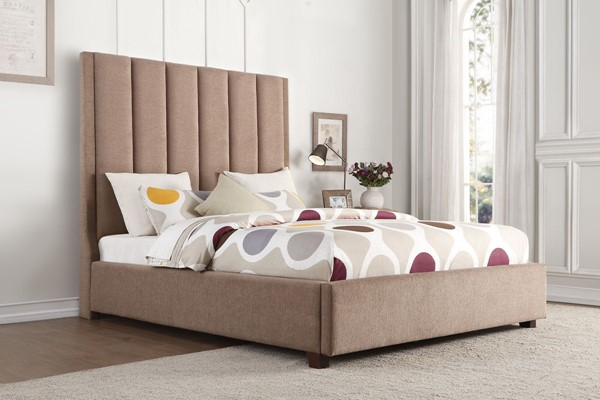 Home Elegance Neunan Brown Fabric Queen Bed HE-5876BR-1