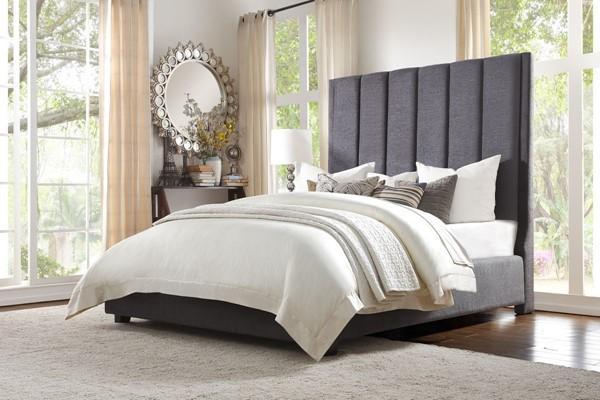 Home Elegance Neunan Dark Gray Fabric King Bed HE-5876KGY-1EK
