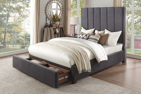 Home Elegance Neunan Dark Gray King Storage Bed HE-5876KGY-1EKDW
