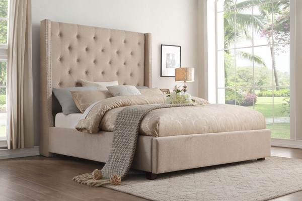 Home Elegance Fairborn Beige Fabric King Bed HE-5877KBE-1EK