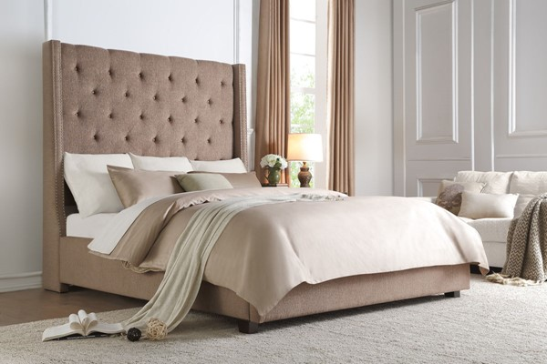 Home Elegance Fairborn Brown Fabric Queen Bed HE-5877BR-1