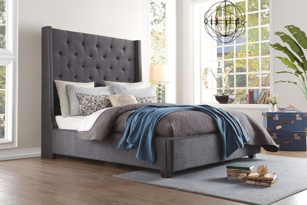 Home Elegance Fairborn Dark Gray Fabric King Bed HE-5877KGY-1EK