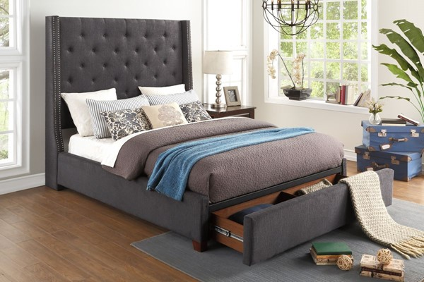 Home Elegance Fairborn Dark Gray Full Storage Bed HE-5877FGY-1DW