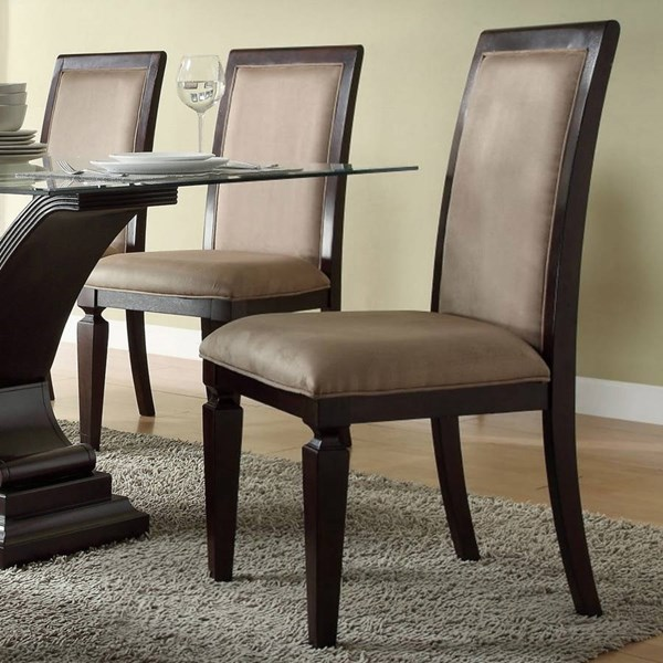 2 Plano Dark Espresso Wood Fabric Side Chairs HE-597D-3S