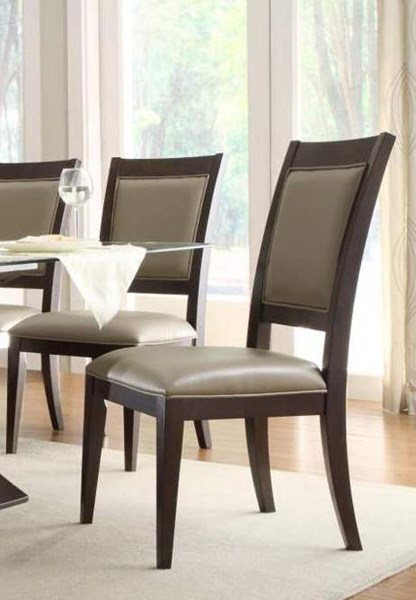 2 Bering Dark Espresso Wood Fabric Side Chairs HE-597D-4S