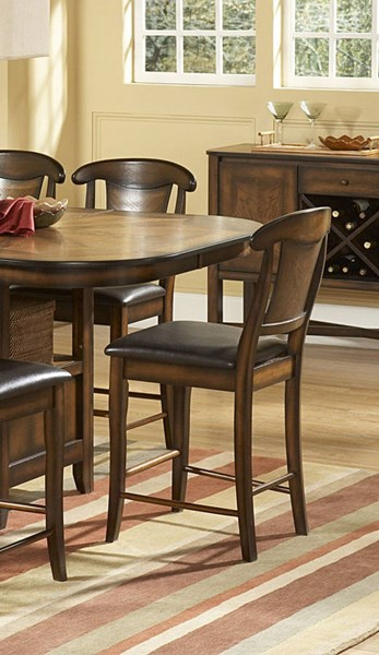 2 Westwood Transitional Burnish Oak Wood Vinyl Counter Height Chairs HE-626-24