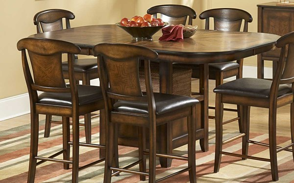 Westwood Burnish Oak Wood Counter Height Dining Table w/Storage HE-626-36