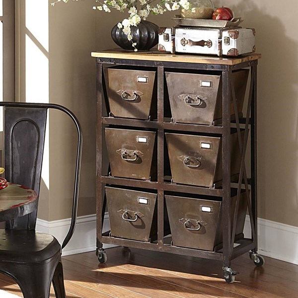 Amara Rustic Metal 6 Drawers Chest W/Caster HE-6403