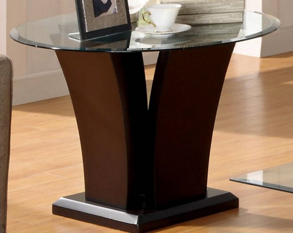 Daisy Elegant Espresso Wood Glass Top Round End Table HE-710-04