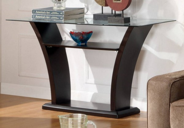 Daisy Elegant Espresso Wood Glass Top Sofa Table HE-710-05